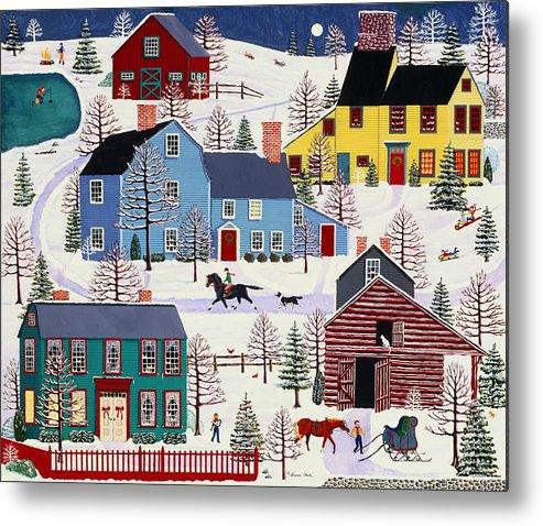 Folk Art Metal Print featuring the painting Winter Evening Fun by Susan Henke