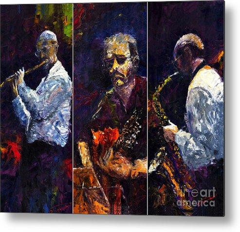 Jazz Metal Print featuring the painting Jazz Triptique by Yuriy Shevchuk