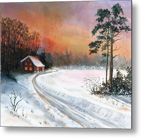 Sunset Metal Print featuring the painting Winters Glow by Rita Smith