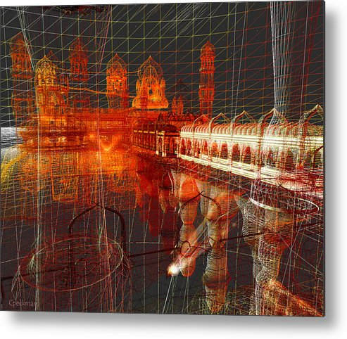 Wireframe Metal Print featuring the digital art Bloody String Theory by Constance Peckman