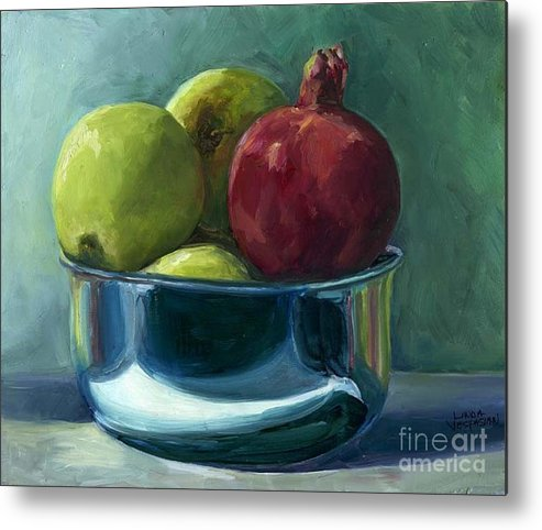 Apple Metal Print featuring the painting Green Apples And A Pomegranate by Linda Vespasian