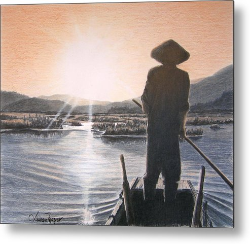Landscape Metal Print featuring the drawing Homeward Bound by Susan Moyer