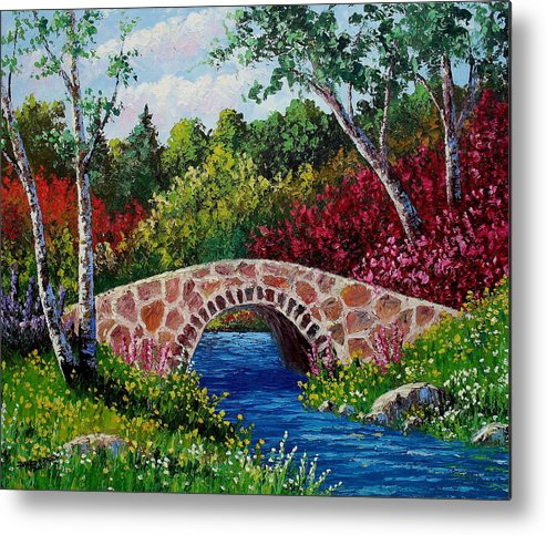 Landscape Metal Print featuring the painting The Little Stone Bridge by David G Paul