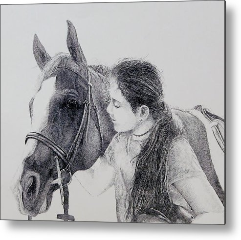 Pets Horses Horseback Riding Children Metal Print featuring the painting Best Friends by Tony Ruggiero