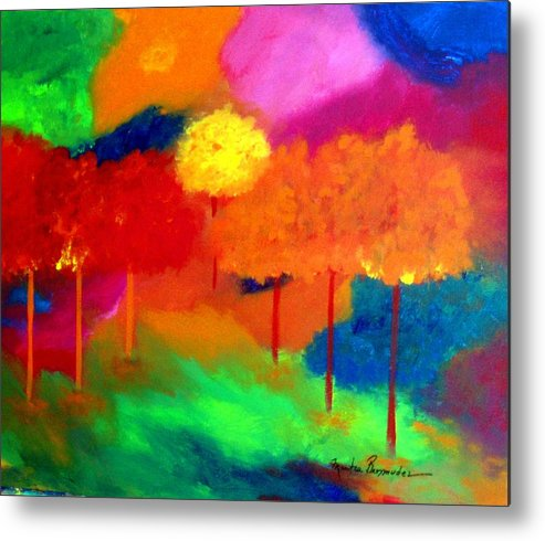 Landscape Metal Print featuring the painting Enchanted Forest by Maritza Bermudez