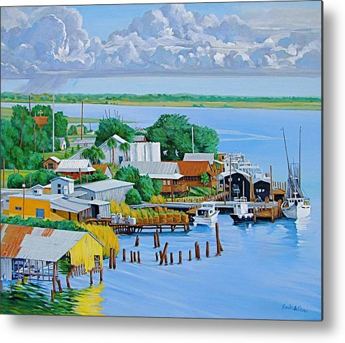 Waterfront Metal Print featuring the painting Apalachicola Waterfront by Neal Smith-Willow
