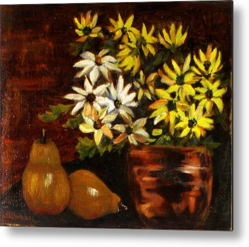 Daisies Metal Print featuring the painting Daisies And Pears by Lia Marsman