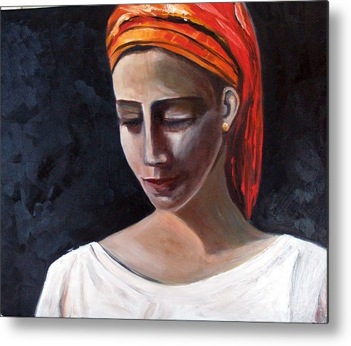 Girl Woman Portrait Red White Black Metal Print featuring the painting My Soul My Temple by Niki Sands