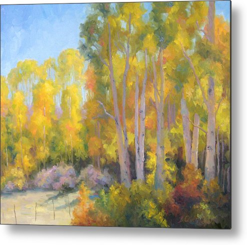 Autumn Metal Print featuring the painting October Delight by Bunny Oliver