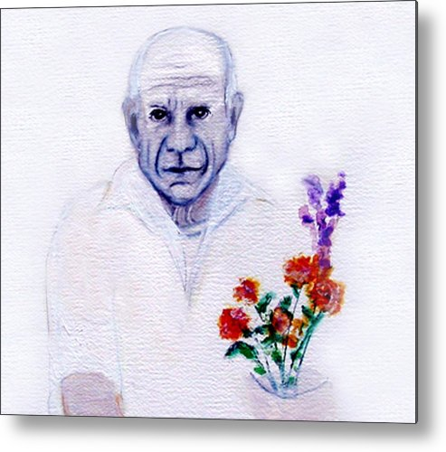 Pablo Picasso Metal Print featuring the painting Primroses For Picasso by Michela Akers