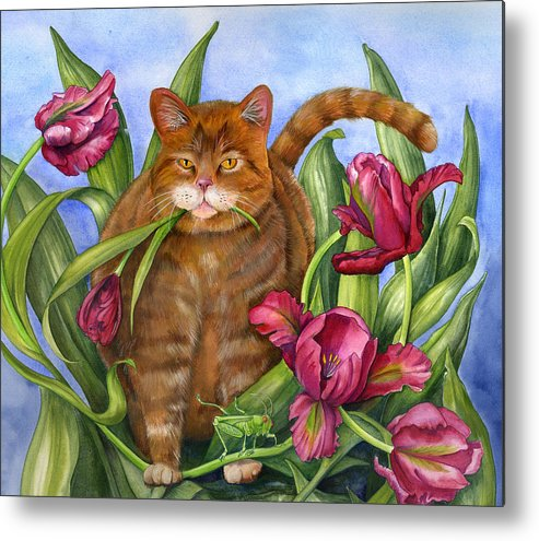 Cats Metal Print featuring the painting Tango In The Tulips by Mindy Lighthipe