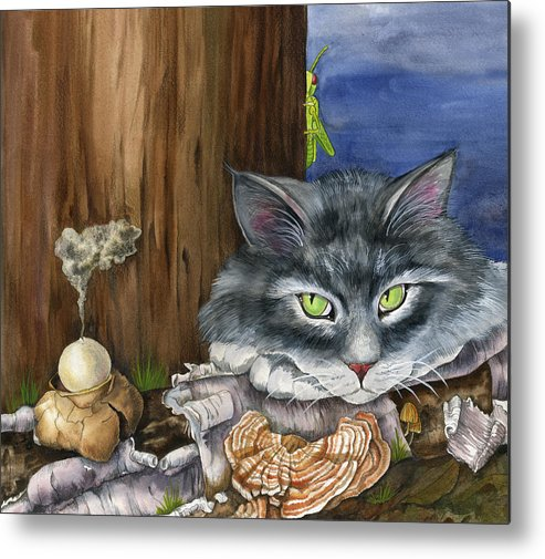 Cats Metal Print featuring the painting Mona With The Mushrooms by Mindy Lighthipe