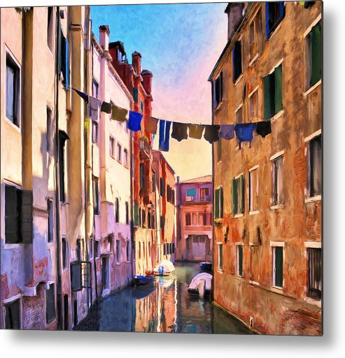Venezia Metal Print featuring the painting Venice Alleyway by Dominic Piperata