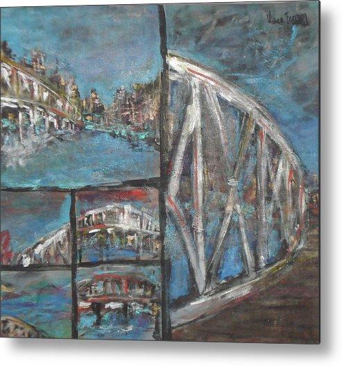 La Boca In Buenos Aires Metal Print featuring the painting The Bridge by Vivien Ferrari