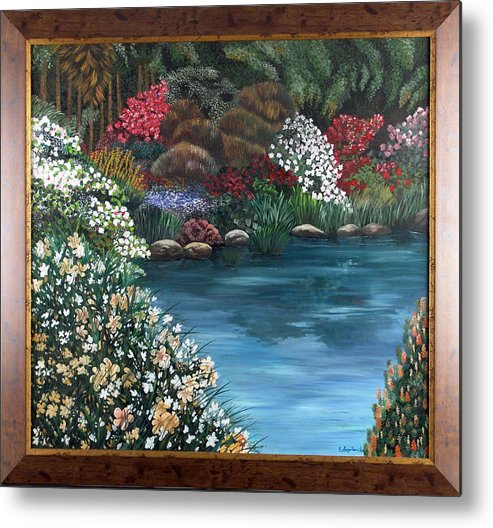 Landscape.water Metal Print featuring the painting Eden by Helene Lagoudakis