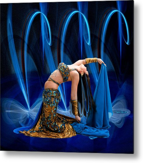 Fractal Metal Print featuring the photograph Blue Veils by Sylvia Thornton