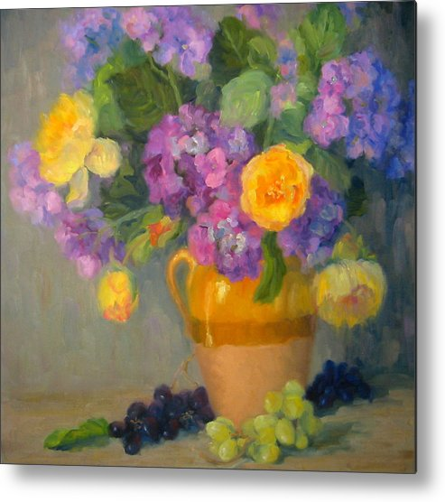 Still Life Metal Print featuring the painting Floral Melody by Bunny Oliver