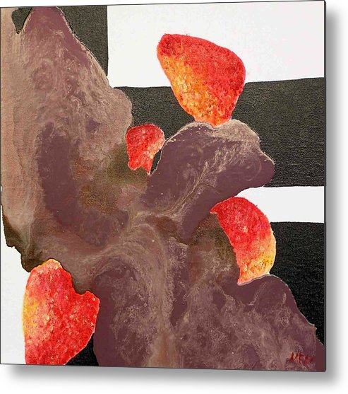 Metal Print featuring the painting Strawberry In Chocolate by Evguenia Men