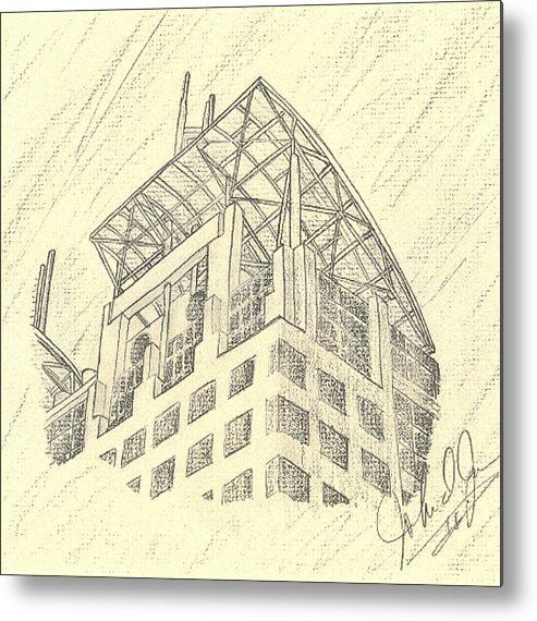 Buildings Metal Print featuring the drawing Mobile Courthouse by John Jones
