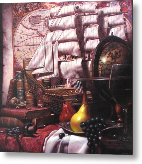 Still Life Metal Print featuring the painting Voyage Round The World by Takayuki Harada
