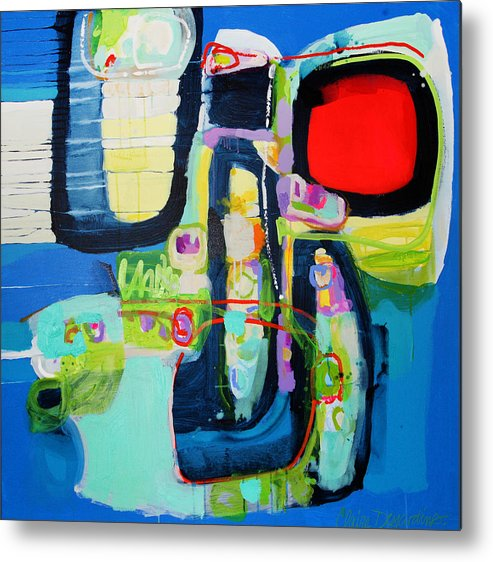 Abstract Metal Print featuring the painting Work It Out by Claire Desjardins