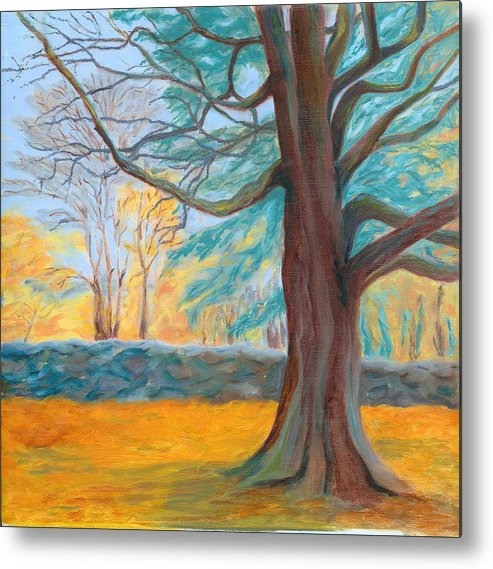 Landscape Metal Print featuring the painting Autumn On The Preserve by Paula Emery