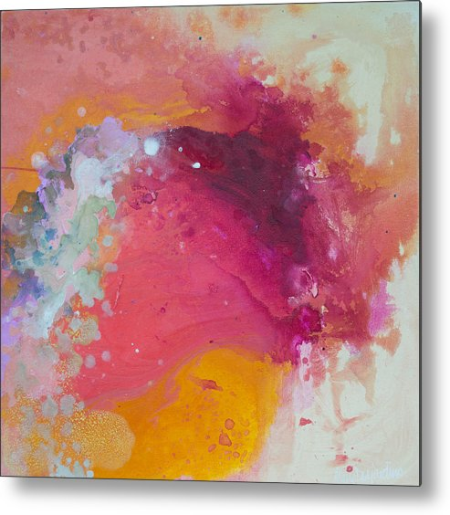 Abstract Metal Print featuring the painting Controlled Chaos by Claire Desjardins