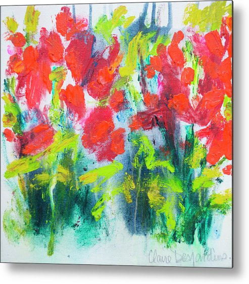 Abstract Metal Print featuring the painting Little Garden 01 by Claire Desjardins