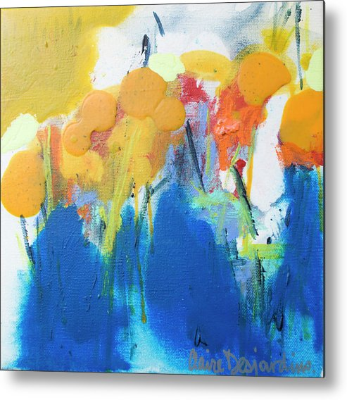 Abstract Metal Print featuring the painting Little Garden 02 by Claire Desjardins