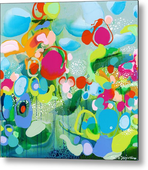 Abstract Metal Print featuring the painting Paradise Outer Limits by Claire Desjardins