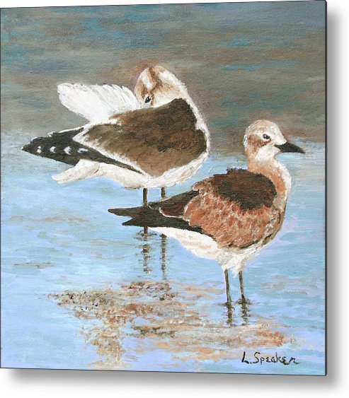 Seagulls Metal Print featuring the painting Seagulls by Linda Speaker