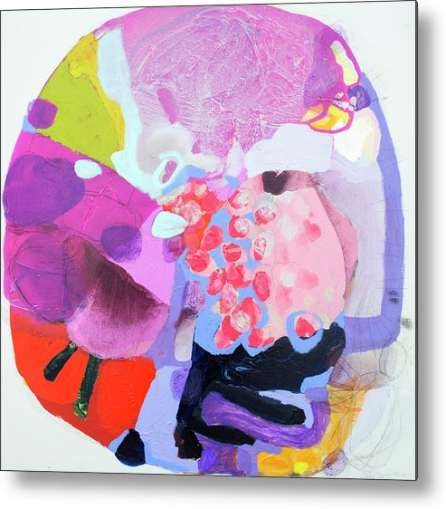 Abstract Metal Print featuring the painting Smug by Claire Desjardins