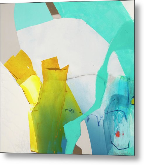 Abstract Metal Print featuring the painting Talking To Myself by Claire Desjardins