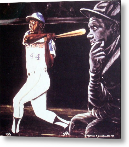 Sports Metal Print featuring the painting The Babe Looks On by Norman F Jackson