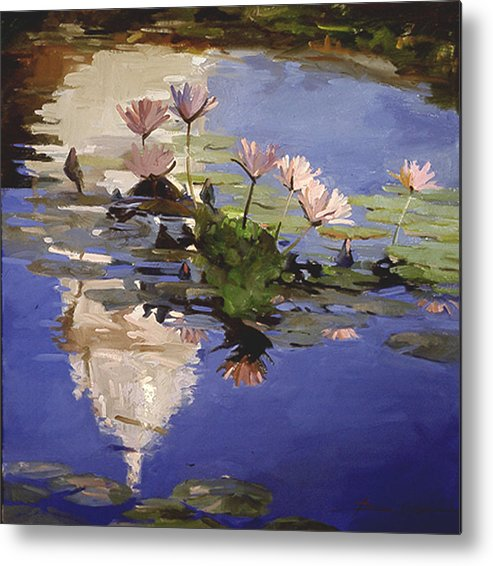 Water Lilies Metal Print featuring the painting The Dome - Water Lilies by Betty Jean Billups