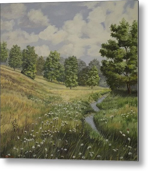 Cloudy Skies Metal Print featuring the painting Field And Stream by Wanda Dansereau