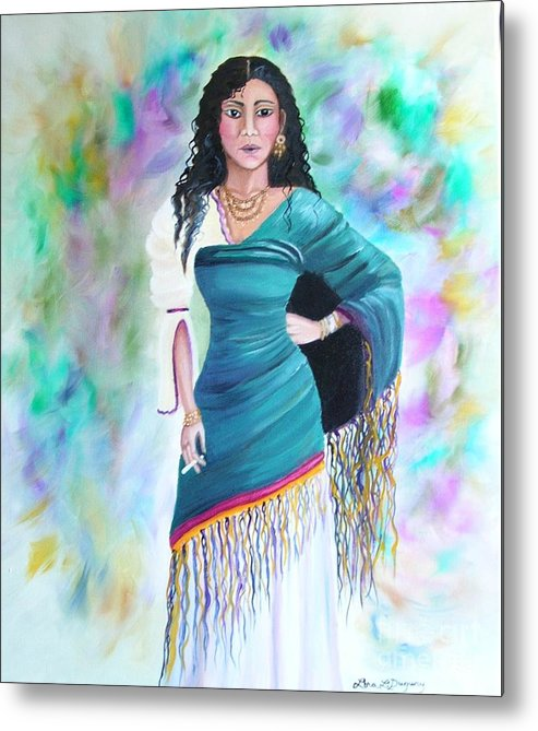 Gypsy Woman Metal Print featuring the painting Beautiful Zoli by Lora Duguay