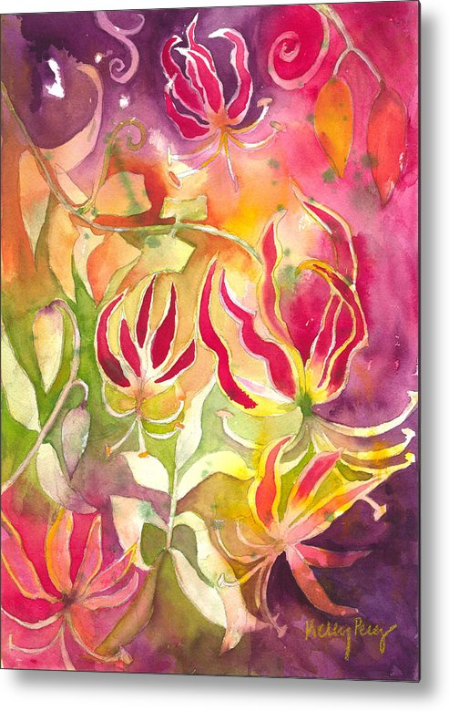 Floral Painting Metal Print featuring the painting Gloriosa Lilies by Kelly Perez