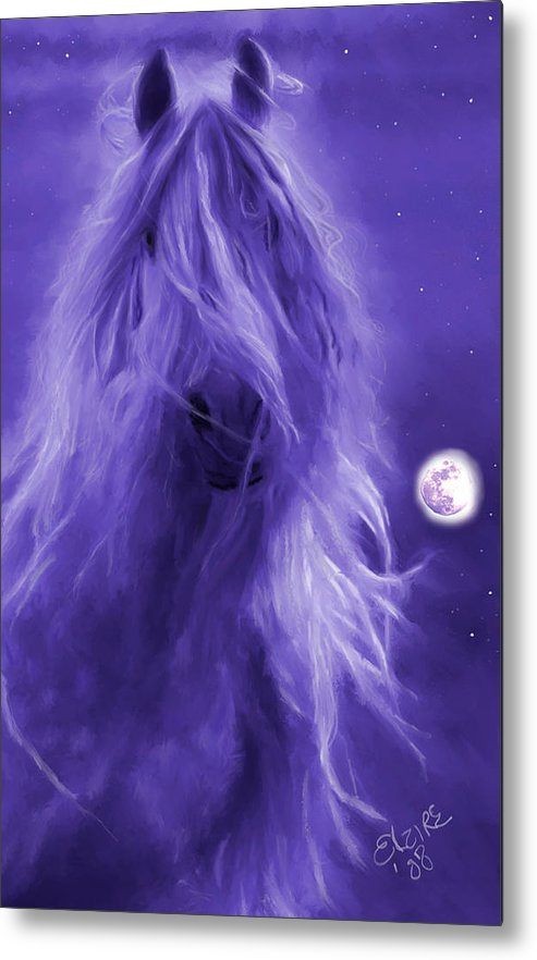 Purple Metal Print featuring the painting After Midnight by Elzire S