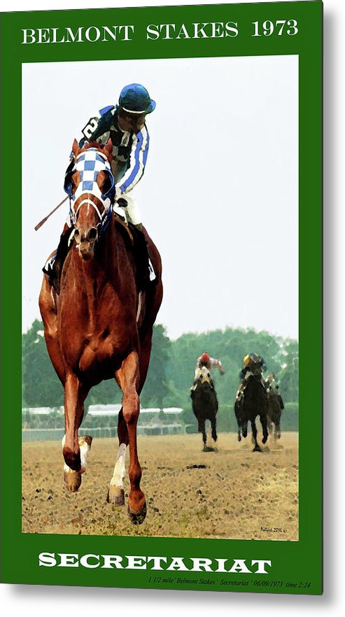 Looking Back, 1 1/2 mile Belmont Stakes Secretariat 06/09/73 time 2 24 - painting by Thomas Pollart