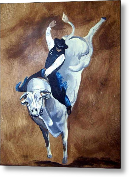 Bullrider Metal Print featuring the painting Champion Ride by Glenda Smith