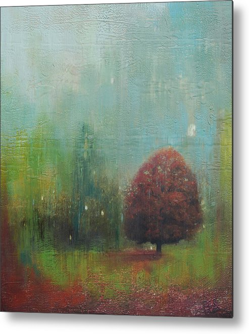 Mixed Media Metal Print featuring the painting Red Tree by Joya Paul