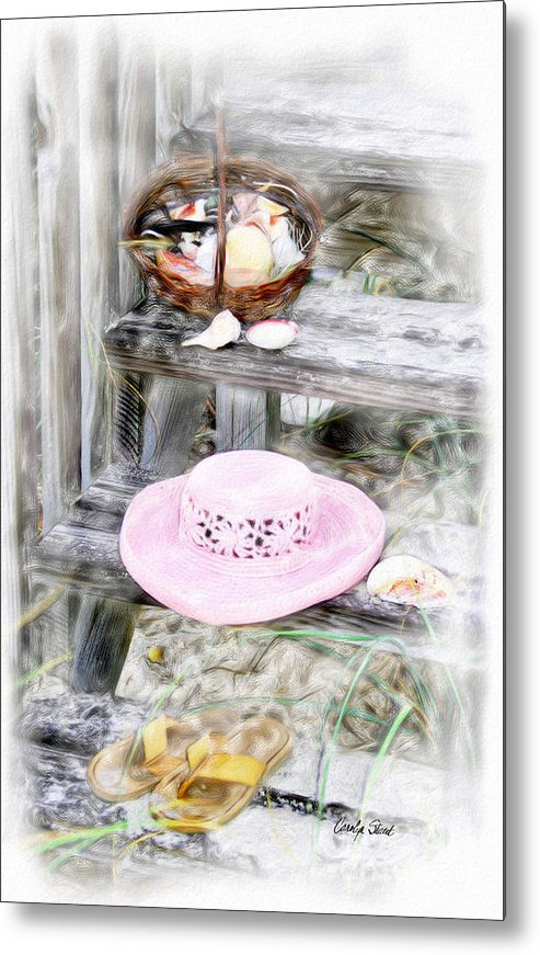 Tropical Beach Shells Seashore Metal Print featuring the painting Back From The Beach by Carolyn Staut