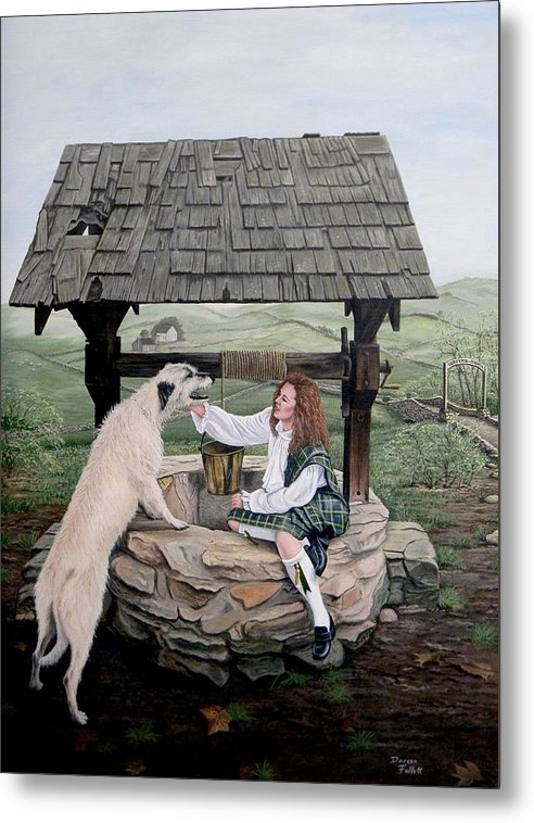 Irish Wolfhound Metal Print featuring the painting Whiter-morn by Doreen Follett