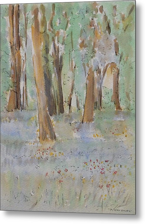Blue Bells Metal Print featuring the painting Blue Bells In The Wild by Naini Kumar