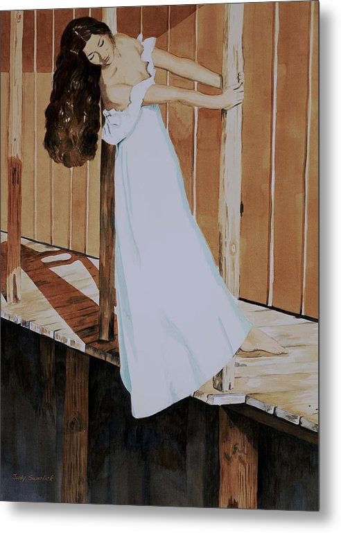 Girl On Dock Metal Print featuring the painting Girl on Dock by Judy Swerlick