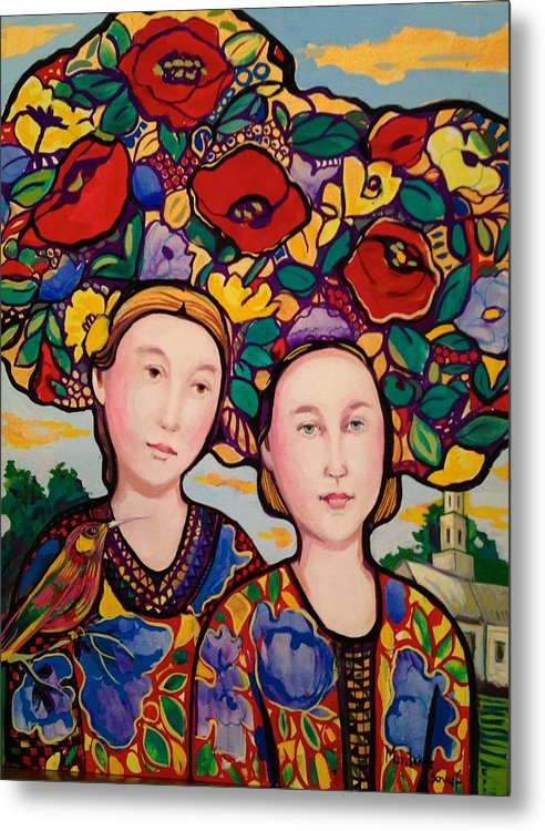 Flowers Metal Print featuring the painting Women and hats by Marilene Sawaf