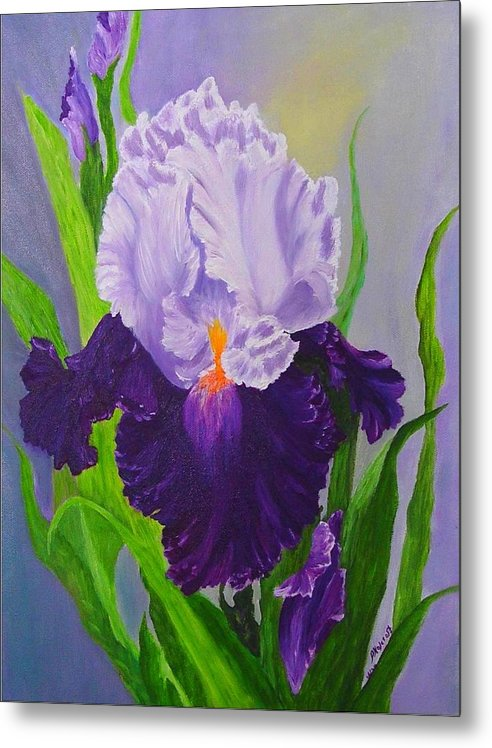 Floral Painting Metal Print featuring the painting Iris by Peggy Holcroft