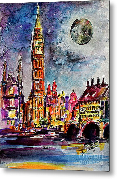 London Metal Print featuring the painting London Big ben Tower Moon Sky by Ginette Callaway