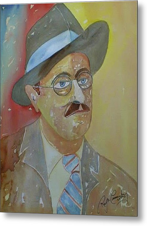 Portrait Metal Print featuring the painting Portrait of James Joyce by Roger Cummiskey